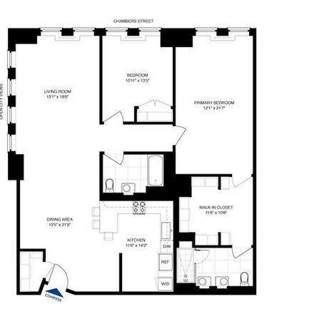 Rent this 2 bed condo on 80 Chambers Street in New York, NY 10007