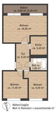 Rent this 3 bed apartment on Remscheider Straße 25 in 01796 Pirna, Germany