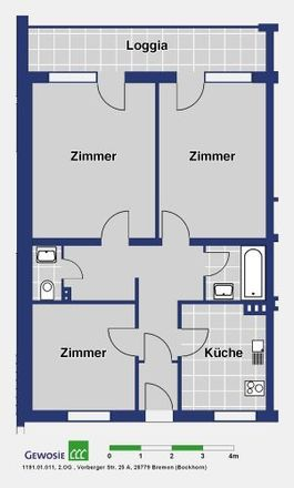 Rent this 3 bed apartment on Vosshaller Weg 10 - 12 in 28779 Bremen, Germany