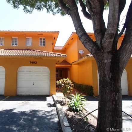 Rent this 3 bed townhouse on 7493 Northwest 177th Terrace in Palm Springs North, Hialeah
