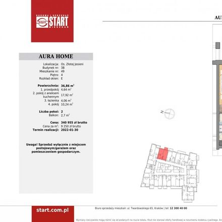 Rent this 2 bed apartment on Osiedle Złotej Jesieni 2 in 31-826 Krakow, Poland