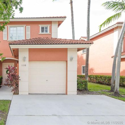 Rent this 3 bed townhouse on 1116 Northwest 100th Avenue in Pembroke Pines, FL 33024