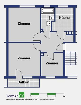 Rent this 3 bed apartment on Jagdweg in 28779 Bremen, Germany