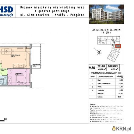 Rent this 2 bed apartment on Kazimierza Siemienowicza 2 in 30-725 Krakow, Poland