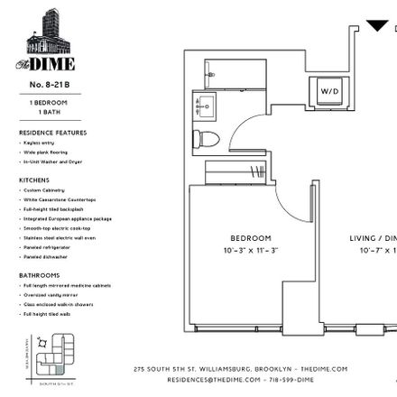 Rent this 1 bed apartment on 275 S 5th St in Brooklyn, NY 11211