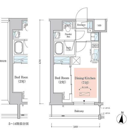 Rent this 1 bed apartment on unnamed road in Kita-Shinjuku 1-chome, Shinjuku